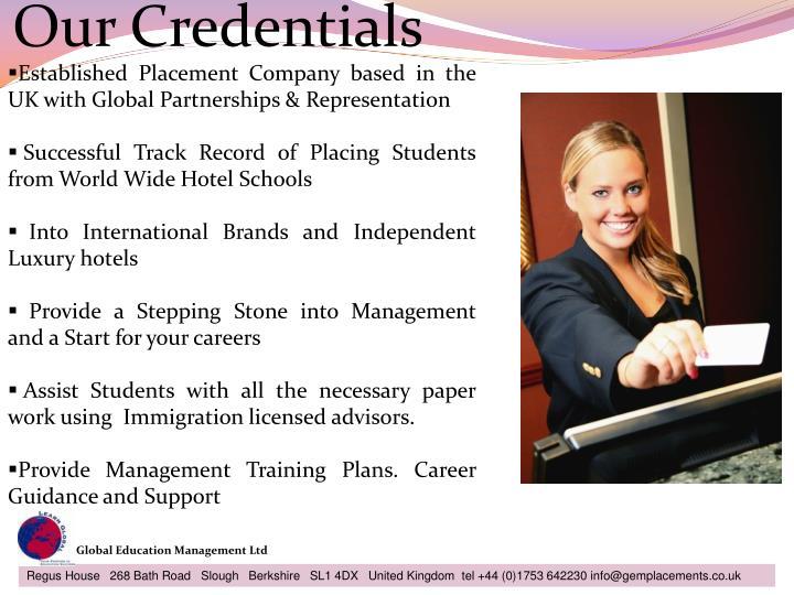 Our credentials