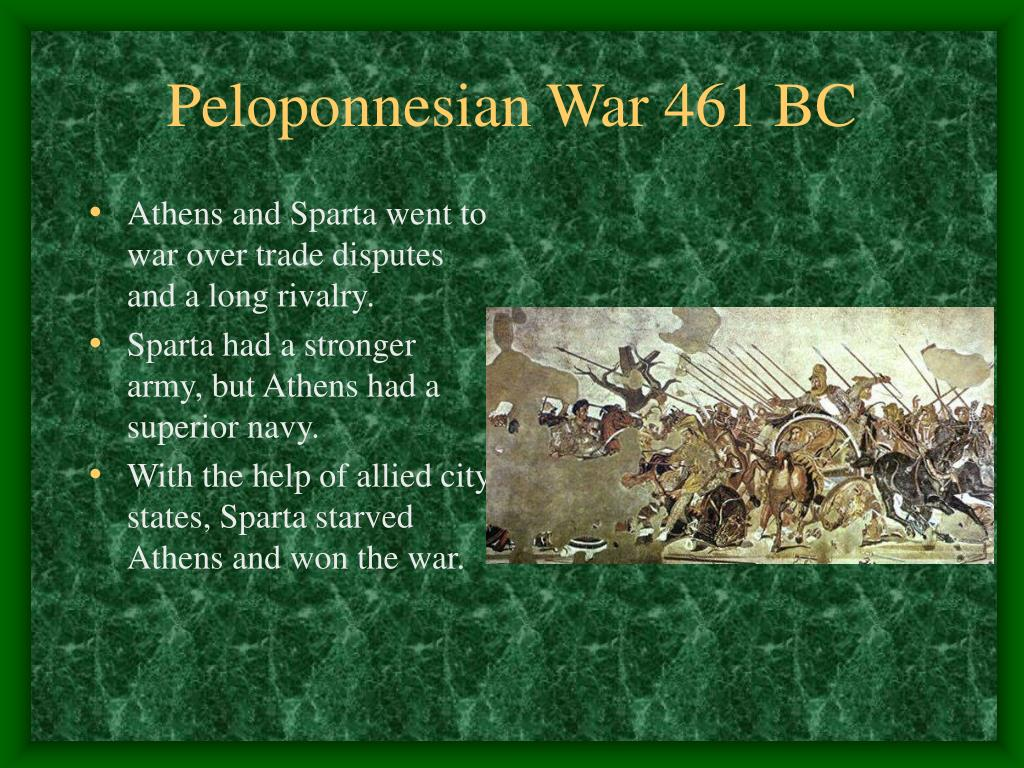 Athens and Sparta went to war over trade disputes and a long rivalry.