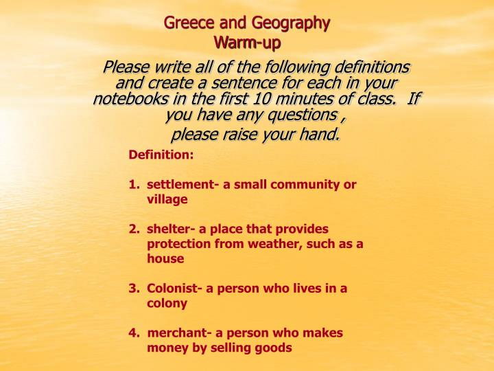 Greece and geography warm up