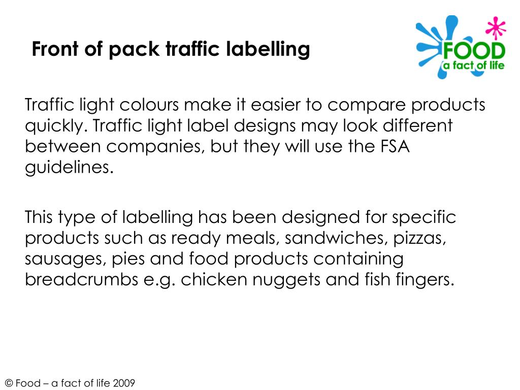 Front of pack traffic labelling