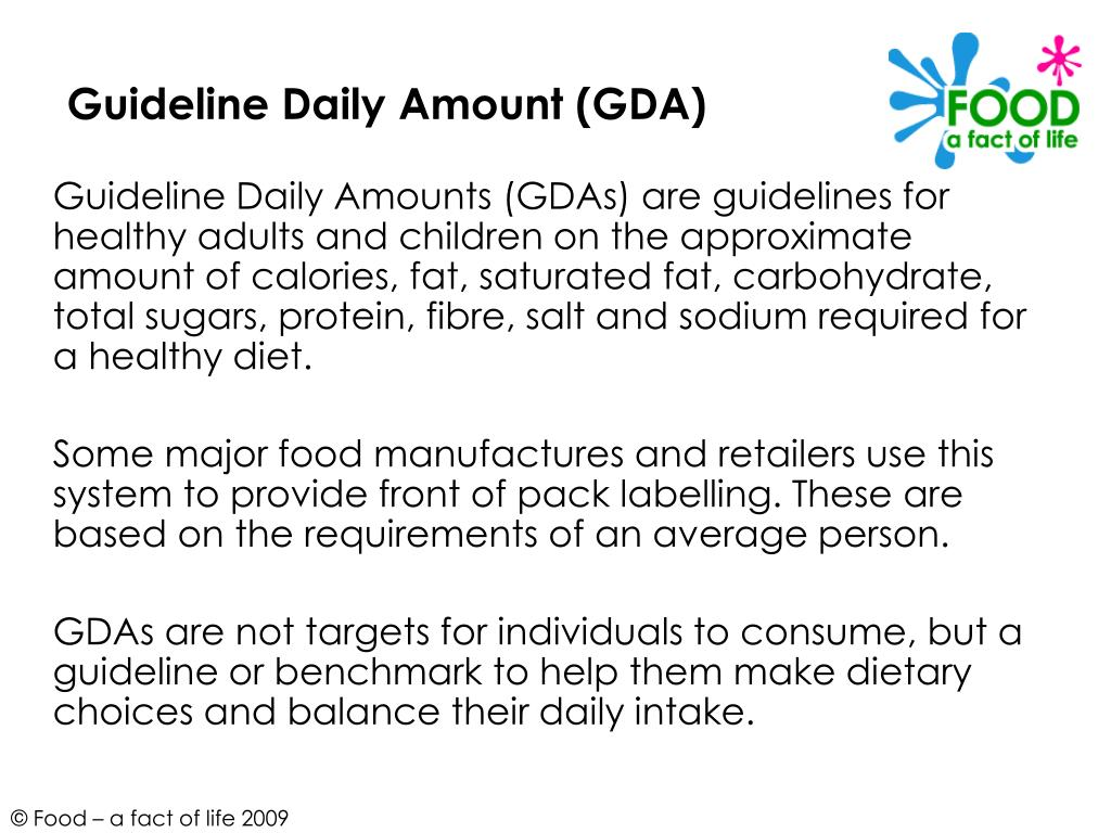 Guideline Daily Amount (GDA)