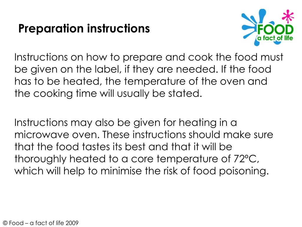Preparation instructions