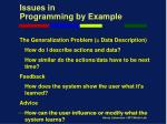 issues in programming by example