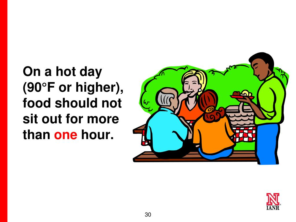On a hot day (90°F or higher), food should not sit out for more than