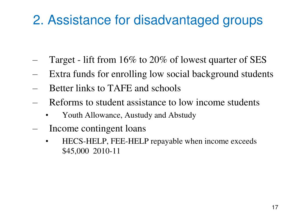 2. Assistance for disadvantaged groups