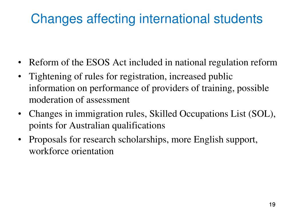 Changes affecting international students