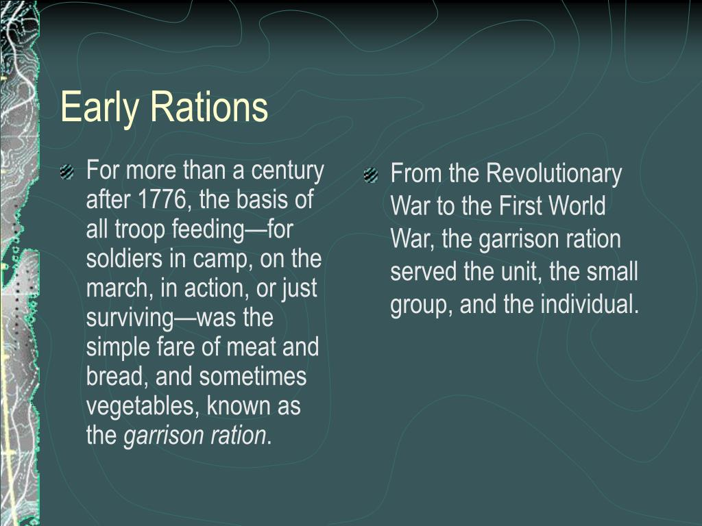 For more than a century after 1776, the basis of all troop feeding—for soldiers in camp, on the march, in action, or just surviving—was the simple fare of meat and bread, and sometimes vegetables, known as the
