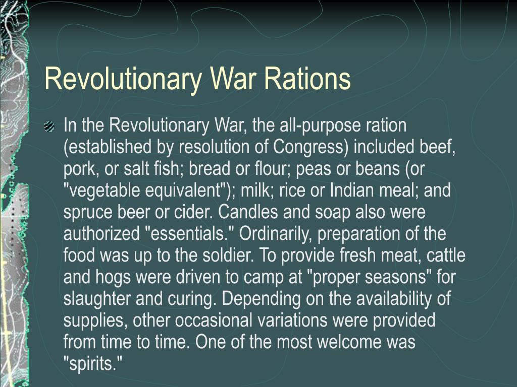 Revolutionary War Rations