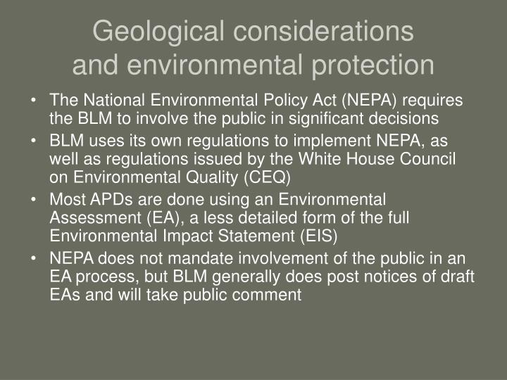 Geological considerations