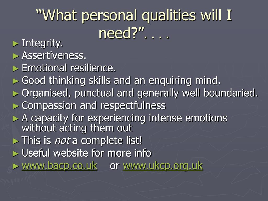 """""""What personal qualities will I need?"""""""