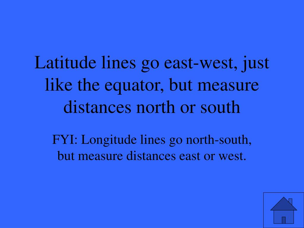 Latitude lines go east-west, just like the equator, but measure distances north or south
