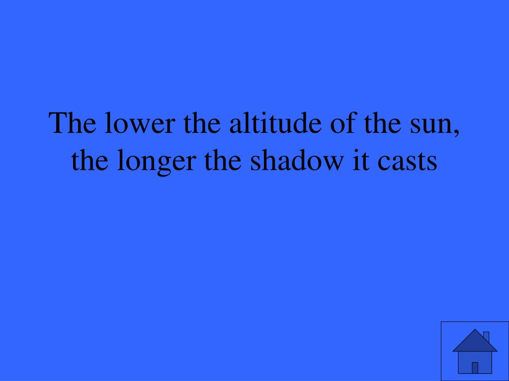 The lower the altitude of the sun, the longer the shadow it casts