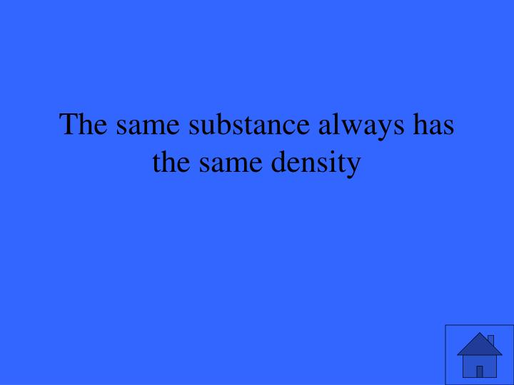 The same substance always has the same density