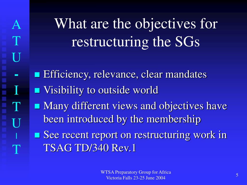 What are the objectives for restructuring the SGs