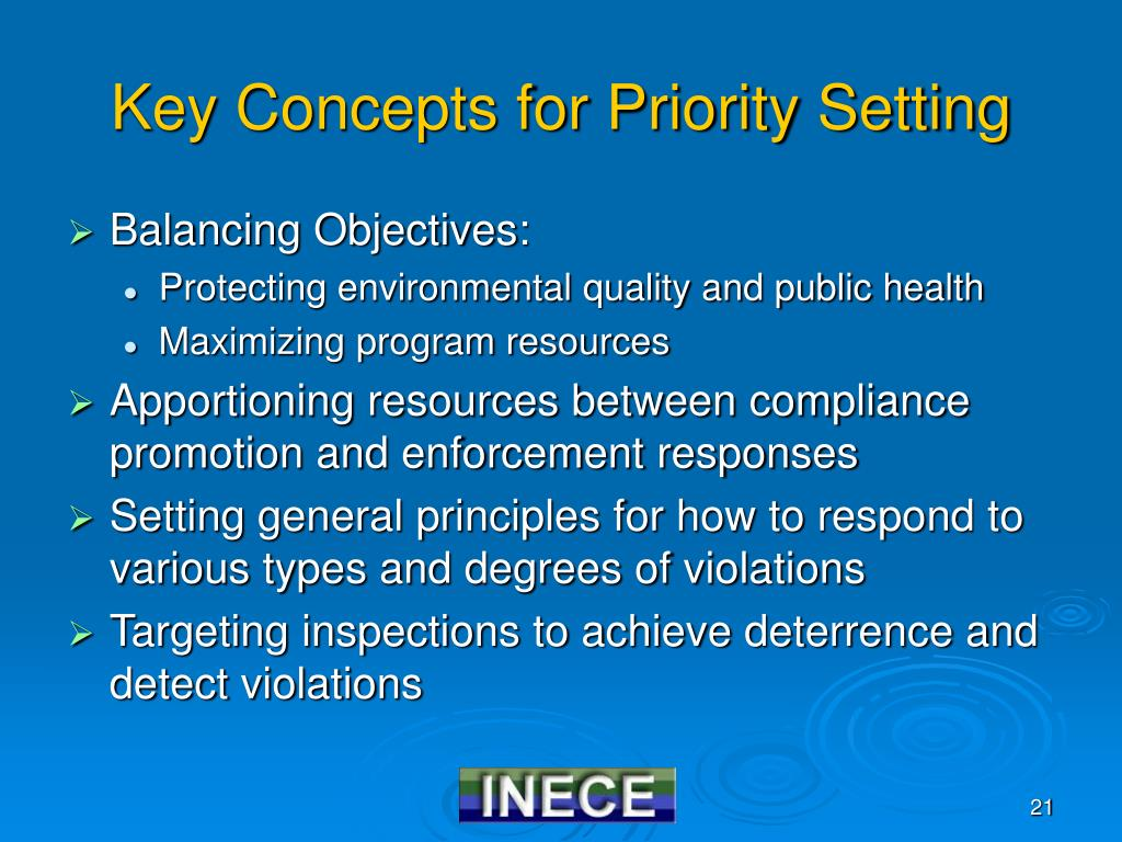 Key Concepts for Priority Setting