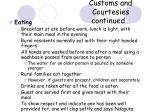customs and courtesies continued19
