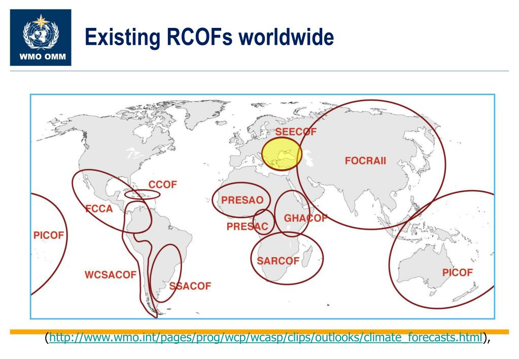 Existing RCOFs worldwide