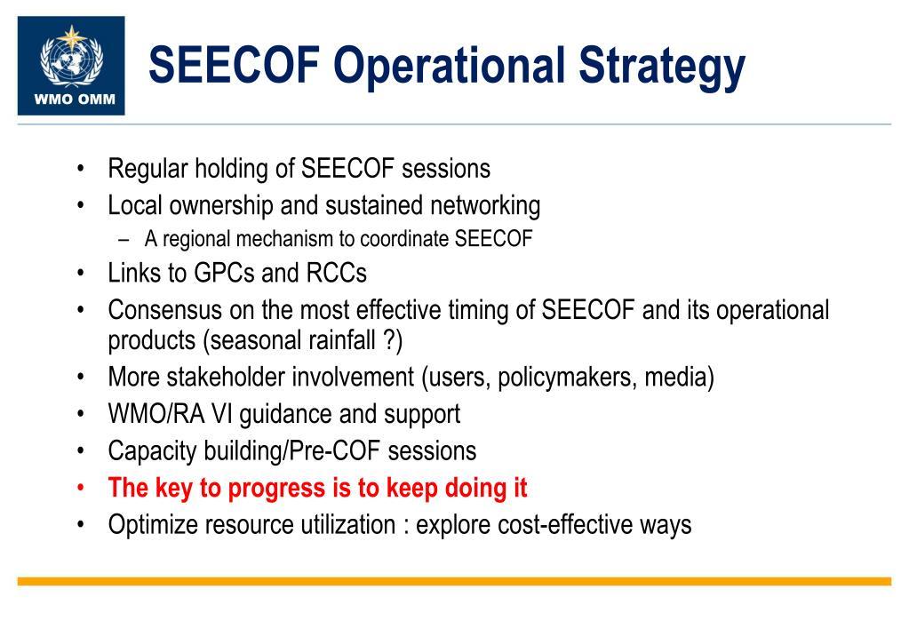 SEECOF Operational Strategy