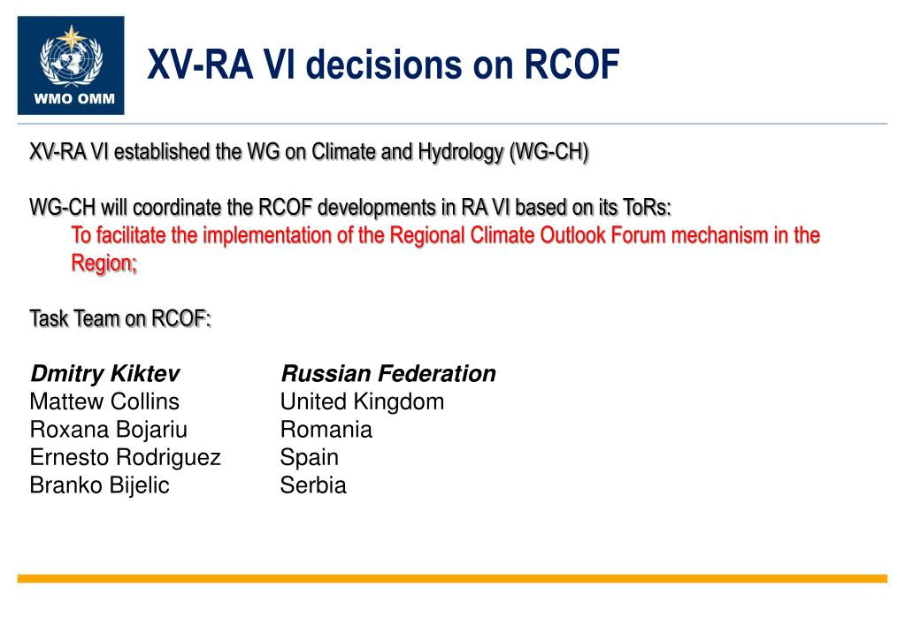 XV-RA VI decisions on RCOF