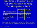 importance of convexity grows with d of position comparing two money market funds