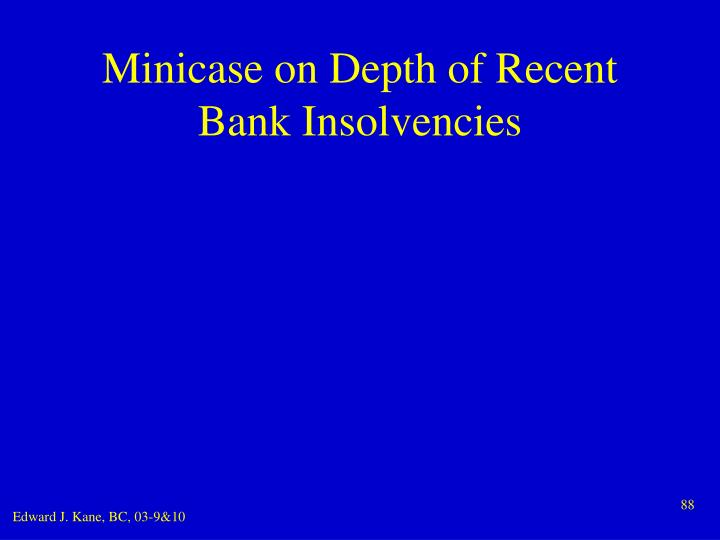 Minicase on Depth of Recent Bank Insolvencies