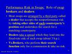 performance risk in swaps role of swap brokers and dealers