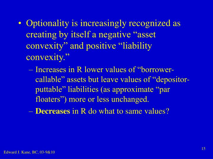 "Optionality is increasingly recognized as creating by itself a negative ""asset convexity"" and positive ""liability convexity."""