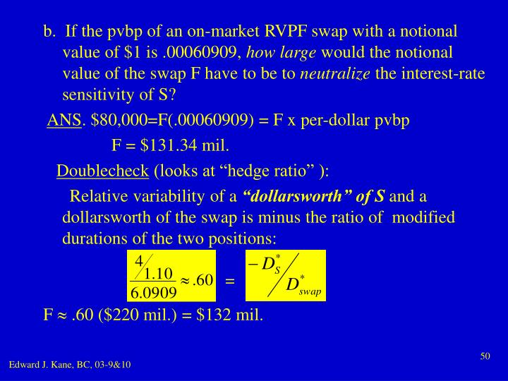 b.  If the pvbp of an on-market RVPF swap with a notional value of $1 is .00060909,