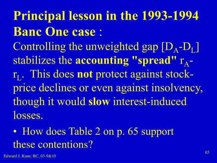 Principal lesson in the 1993-1994 Banc One case