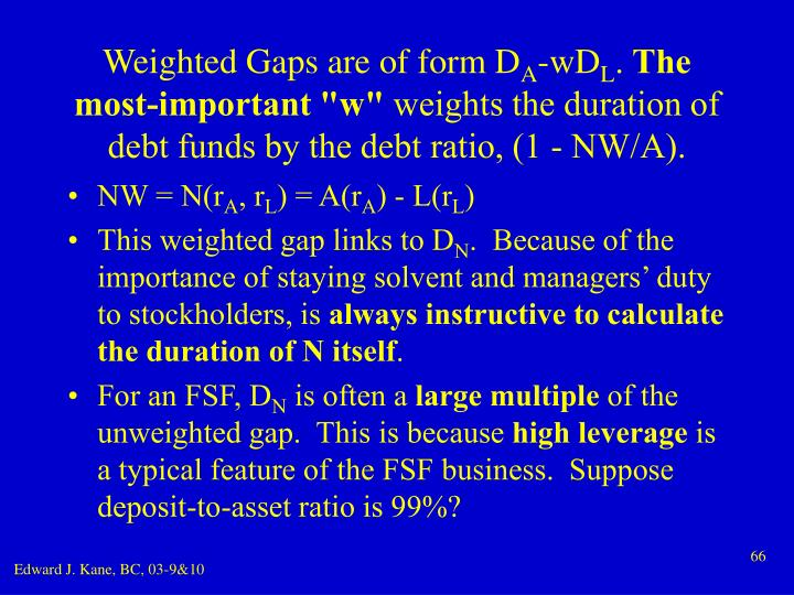 Weighted Gaps are of form D