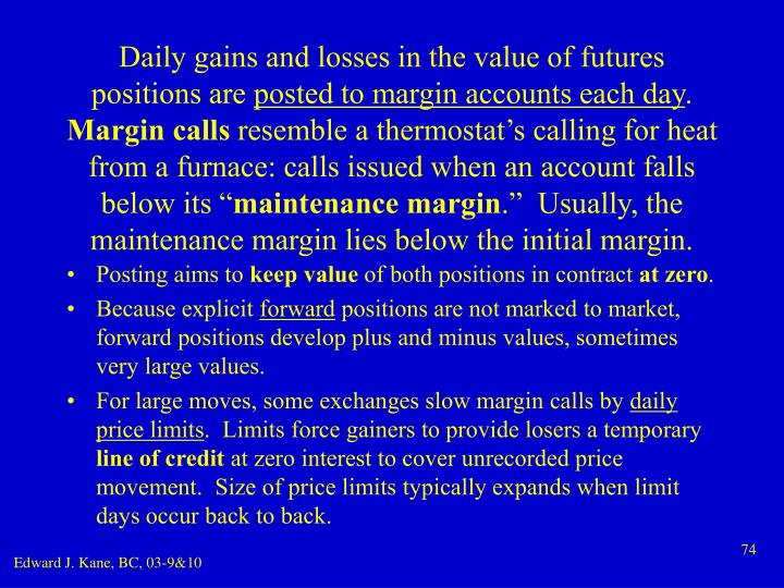 Daily gains and losses in the value of futures positions are