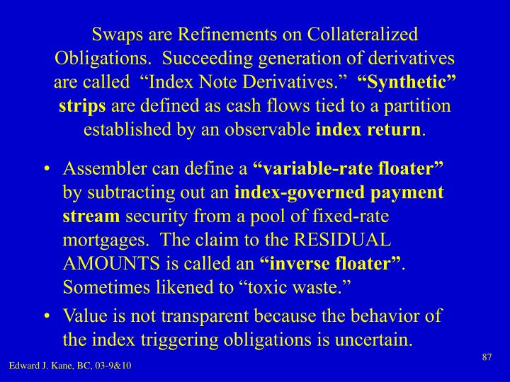"Swaps are Refinements on Collateralized Obligations.  Succeeding generation of derivatives are called  ""Index Note Derivatives."""