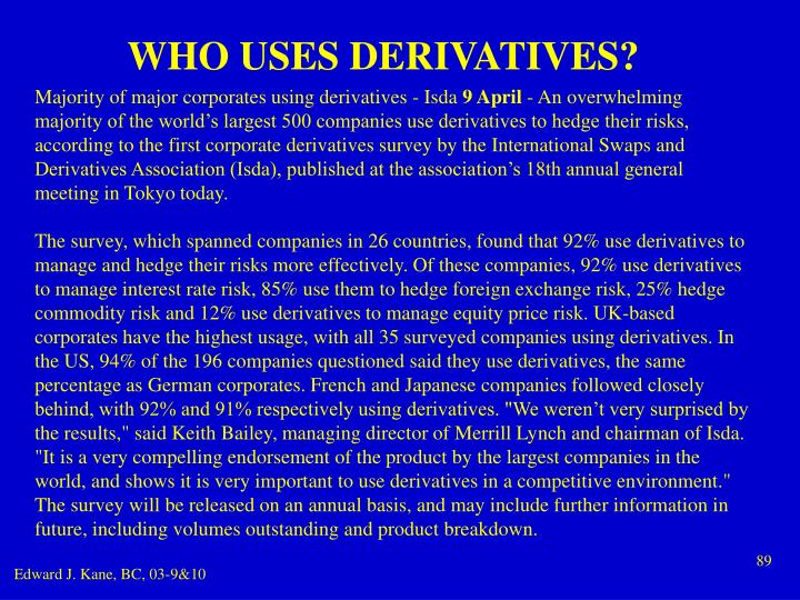 WHO USES DERIVATIVES?