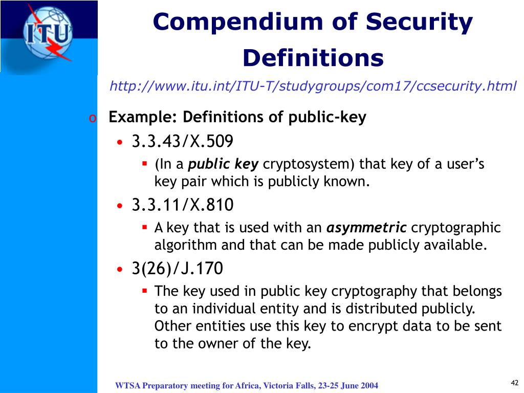 Compendium of Security Definitions