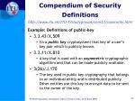 compendium of security definitions http www itu int itu t studygroups com17 ccsecurity html