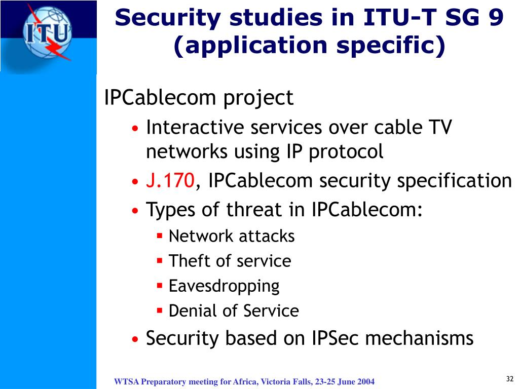 Security studies in ITU-T SG 9