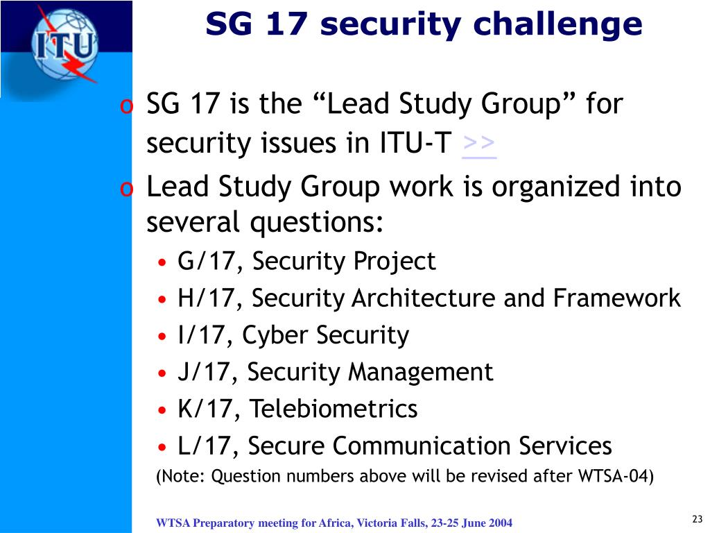SG 17 security challenge