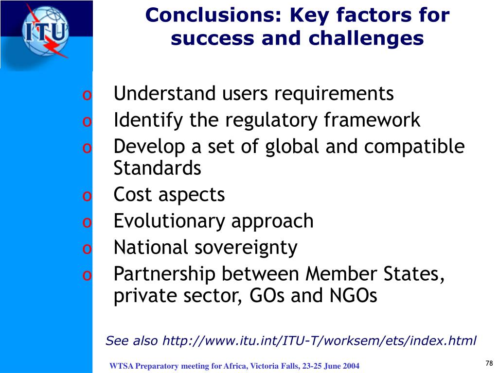 Conclusions: Key factors for success and challenges