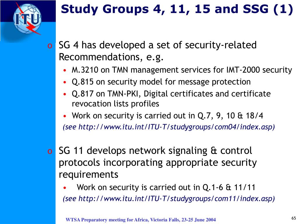 Study Groups 4, 11, 15 and SSG (1)