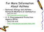 for more information about asthma