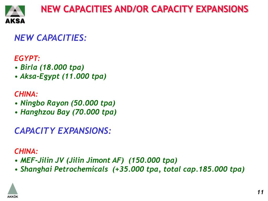 NEW CAPACITIES AND/OR CAPACITY EXPANSIONS