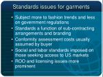 standards issues for garments