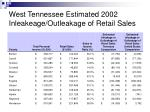 west tennessee estimated 2002 inleakeage outleakage of retail sales