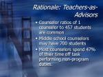 rationale teachers as advisors