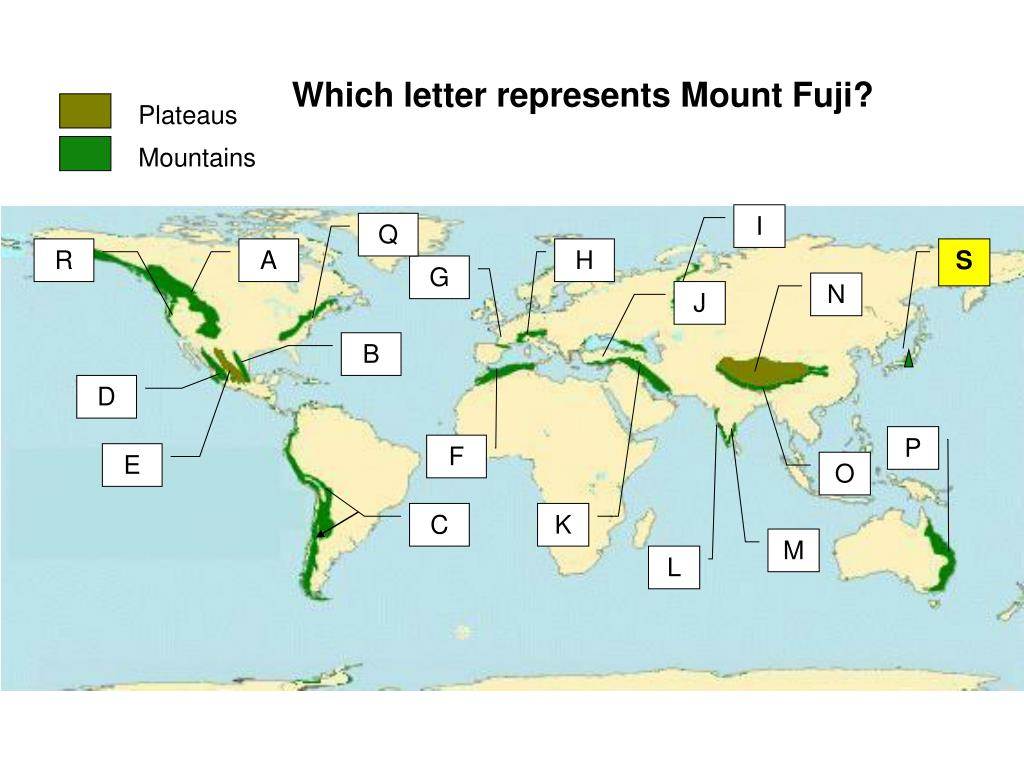 Which letter represents Mount Fuji?