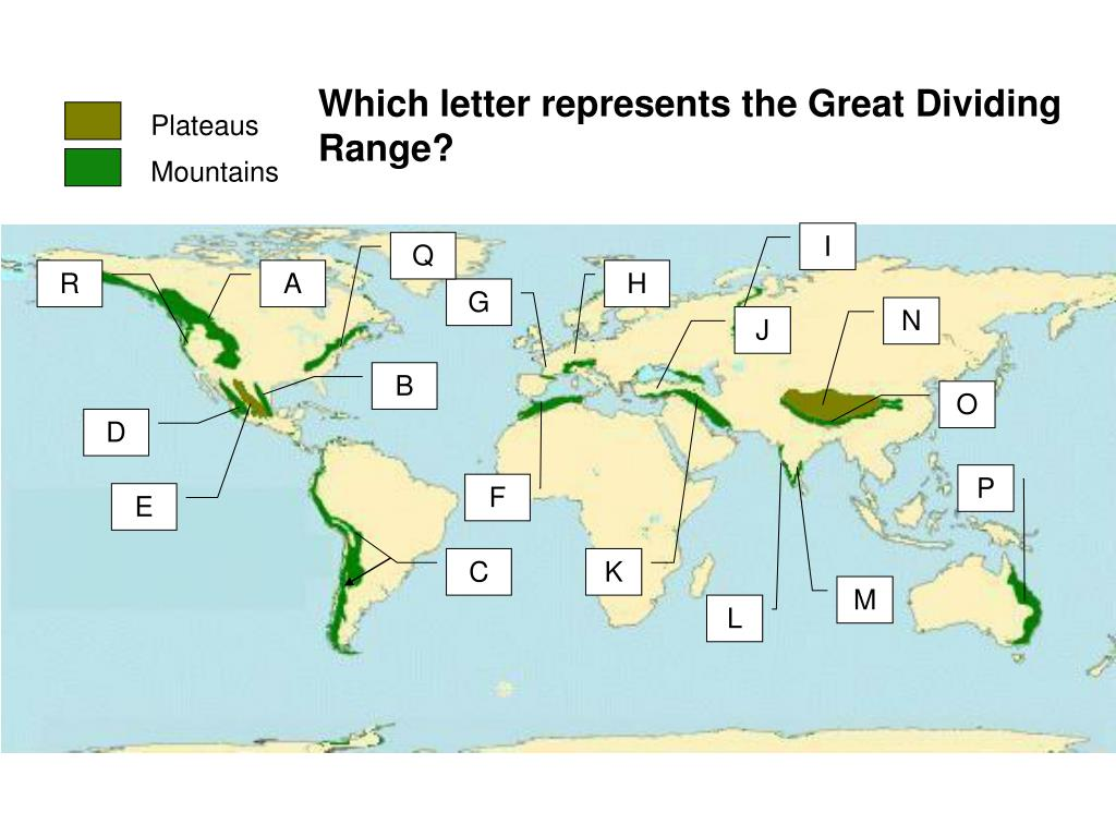 Which letter represents the Great Dividing Range?