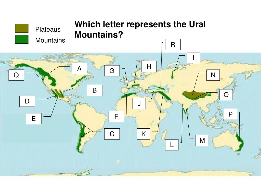 Which letter represents the Ural Mountains?