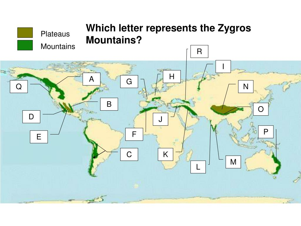 Which letter represents the Zygros Mountains?
