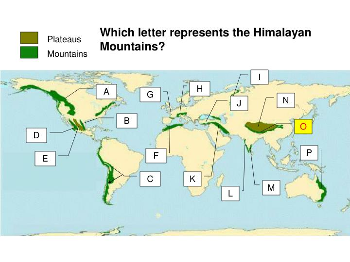 Which letter represents the Himalayan Mountains?