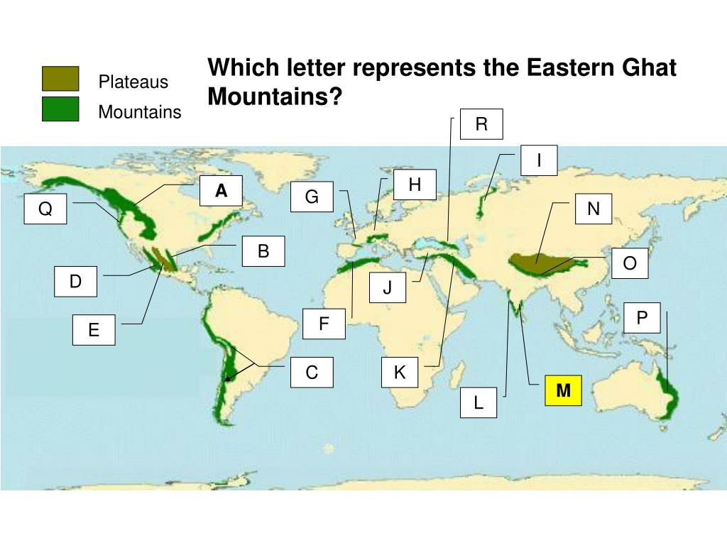 Which letter represents the Eastern Ghat  Mountains?